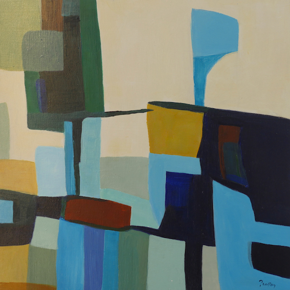 beach houses study II, abstract, original artwork by robyn pedley, bobbie p gallery