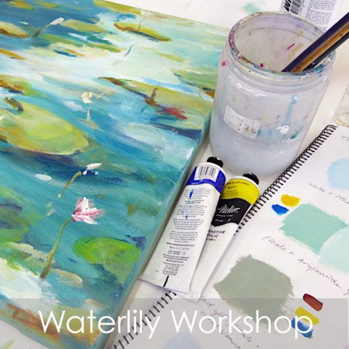 Waterlily workshop in acrylics with artist Robyn Pedley